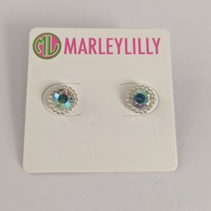Marleylilly Iridescent Faux Pearl Halo Earrings